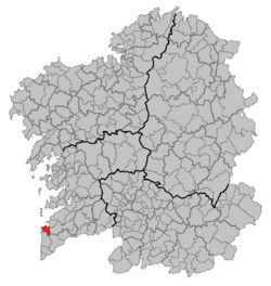 Situation of Baiona within Galicia