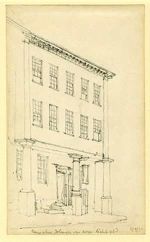 Samuel Johnson Birthplace Museum - Sketch of the house by Ambrose Macdonald Poynter (1890)