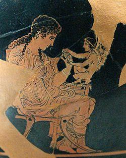 Éros est une figure fréquemment représentée dans l'antiquité, ici sur un Skyphos attique à figures rouges ( v. 420-410 av. J.-C) provenant d'Athènes.