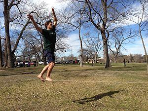 Cameron Park (Waco) - Image: Slacklining in Cameron Park, Waco
