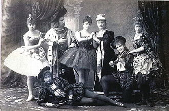 The Sleeping Beauty (ballet) - Original cast members costumed for Act I. At center is Carlotta Brianza as Aurora.  (Mariinsky Theatre, St. Petersburg, 1890)