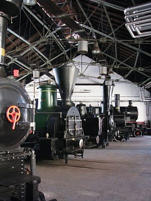 Interior of the Slovenian Railway Museum Slovenian Railway Museum 2010.JPG