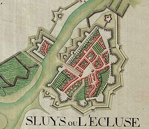 Sluis - Sint Anna ter Muiden and Sluis on the Ferraris map (around 1775)