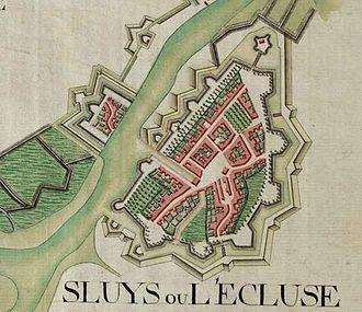 Sluis - Sint Anna ter Muiden and Sluis on the Ferraris map (around 1775)