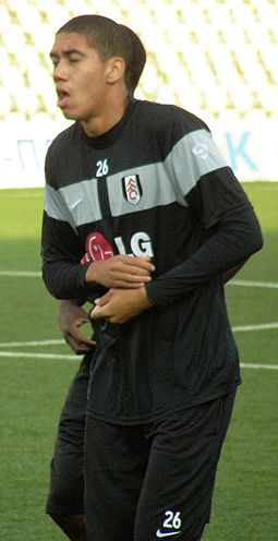Smalling warming up for Fulham in 2009 Smalling.JPG