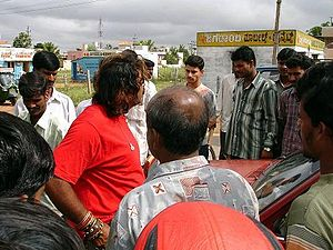Snake Shyam - Snake Shyam (in red shirt) with the local people after a 'snake encounter'
