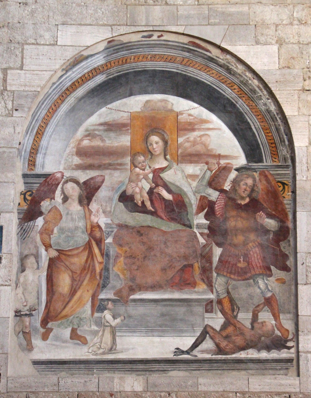 Sodoma, Madonna col Bambino, gli arcangeli michele e Raffaele, e un donatore, 01