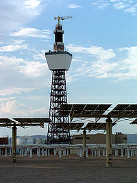 Solar Two, a concentrating solar power tower (an example of solar thermal energy applied to electrical power production).