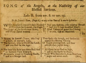 """While Shepherds Watched Their Flocks - """"Song of the Angels at the Nativity of our Blessed Saviour"""" from A New version of the Psalms of David"""