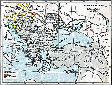 Map of south-eastern Europe ca. 1670, Montenegro is represented in purple dot South-eastern Europe 1672.jpg