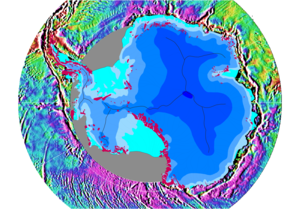 Gravity of Earth - The differences of Earth's gravity around the Antarctic continent.