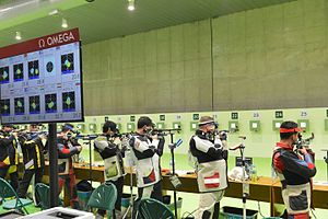 Electronic scoring system - Electronic scoring system used at the 2016 Summer Olympics 10 meter air rifle competition
