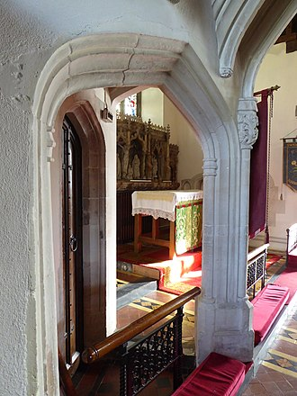 Swimbridge - Squint allowing a view of the high altar from within St Bridget's Chapel