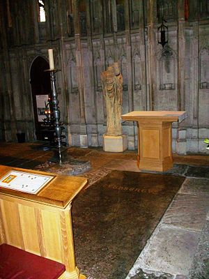 St Cuthbert's coffin - The most recent resting place of Cuthbert's remains, in Durham Cathedral