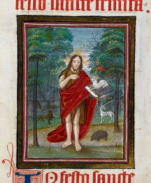 Stephen Jenyns - Miniature of St. John the Baptist (Patron of the Merchant Taylors) in the wilderness: Jenyns Lectionary, fol. 27.