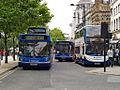 Stagecoach in Manchester buses 22142 (S142 TRJ), 22108 (S108 TRJ) & 19283 (MX08 GSV), 25 July 2008.jpg
