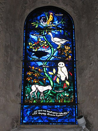 Tree of life (biblical) - Stained glass window in St Mary the Virgin parish church, Iffley, Oxfordshire, made in 1995