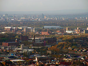 Tameside - A view over Tameside, towards Manchester city centre.