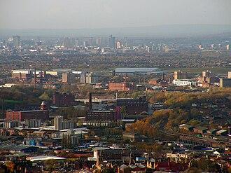 Tameside - A view over Tameside, towards Manchester city centre.