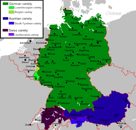 The national and regional standard varieties of German. Standard varieties of German.png