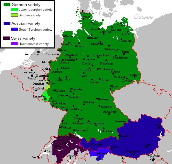 Standard varieties of German