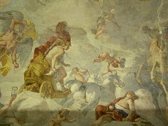 Valmontone - Mattia Preti, ceiling fresco of Stanza dell'Aria, Palazzo Doria-Pamphilij.