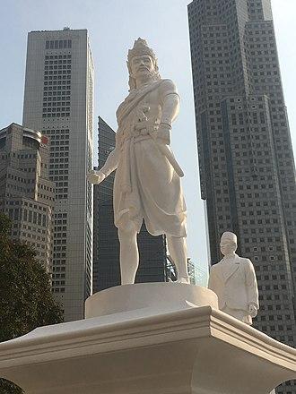 Kingdom of Singapura - Statue of Sang Nila Utama at the Raffles' Landing Site.