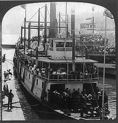 Charles R. Spencer in the Cascade Locks, 1896, with steamer Bailey Gatzert on right.