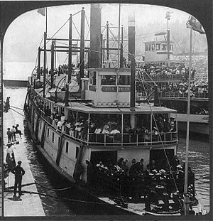 Charles R. Spencer - Charles R. Spencer in the Cascade Locks, 1896, with steamer ''Bailey Gatzert'' on right.