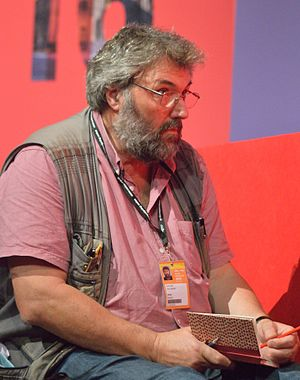 Steve Bell (cartoonist) - Bell working at the 2016 Labour Party Conference