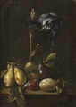 Still Life with an Iris and Plums (Pietro Paolo Bonzi) - Nationalmuseum - 17190.tif