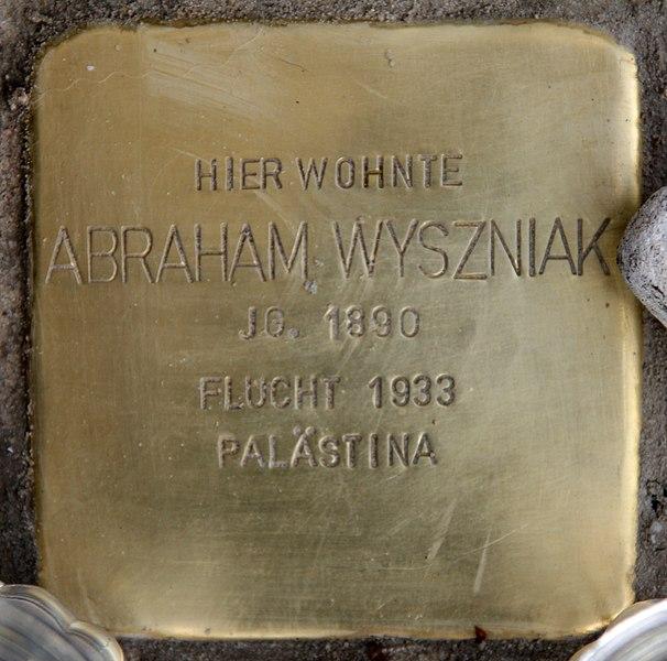 Datei:Stolperstein Bleibtreustr 7 (Charl) Abraham Wyszniak.jpg