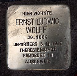 Photo of Ernst Ludwig Wolff brass plaque