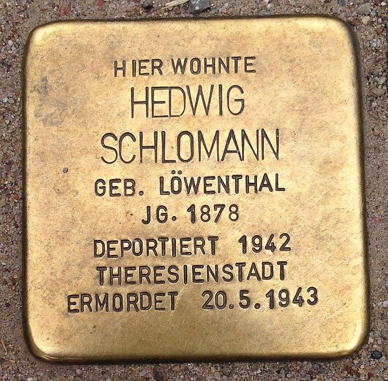Stolperstein Malchow Lange Straße 43 Hedwig Schlomann