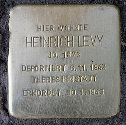 Photo of Heinrich Levy brass plaque