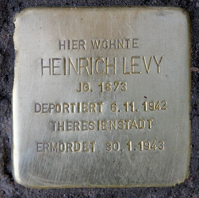 Photo of Heinrich Levy brass plaque