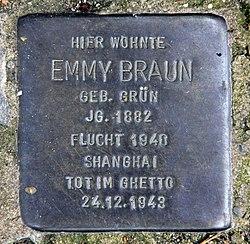 Photo of Emmy Braun brass plaque