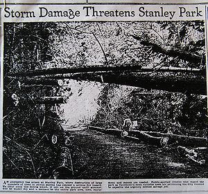 Climate of Vancouver - Photograph of damage caused by the 1934 storm published in the February 8, 1935 edition of Vancouver Daily Province.