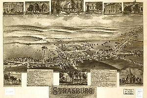Strasburg, Pennsylvania - A Bird's-eye view map of Strasburg, published in 1903