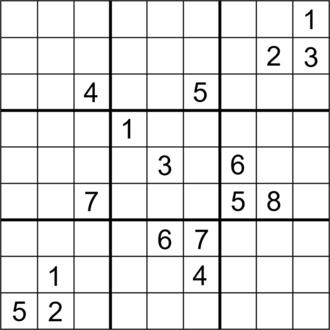 Sudoku solving algorithms - Image: Sudoku Puzzle (a symmetrical puzzle with 17 clues) R4