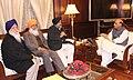 Sukhbir Singh Badal calling on the Union Home Minister, Shri Rajnath Singh, in New Delhi on January 08, 2015. Shri Sukhdev Singh Dhindsa Rajya Sabha MP and Jathedar Avtar Singh Makkar, President, SGPC are also seen.jpg