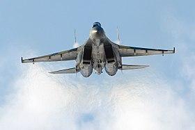 Vue de face de l'avion, lors de l'exhibition MAKS 2011, à Moscou.