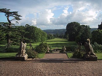 Knightshayes Court - View to the south from the terrace of Knightshayes Court.