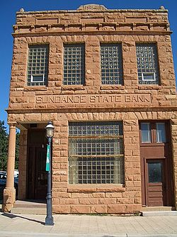 The Sundance State Bank Building on Main Street, which is listed on the National Register of Historic Places, July 2005