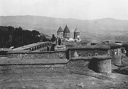 According to Armenian tradition, the remains of John the Baptist were laid to rest by Gregory the Illuminator at the Saint Karapet Monastery. Surp Garabed Vank (Hampikian, 1923).jpg