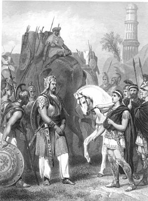 Porus - Surrender of Porus to Alexander, 1865 engraving by Alonzo Chappel