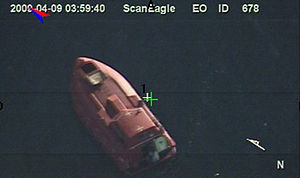 Maersk Alabama hijacking - The 28-foot lifeboat where Captain Richard Phillips and the 4 Somali pirates were held up as seen from a U.S. Navy ScanEagle UAV.