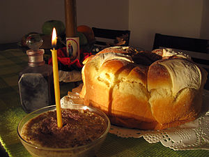 Serb traditions - Slava prepared for a Serbian family feast in honour of their Patron Saint, John the Baptist.