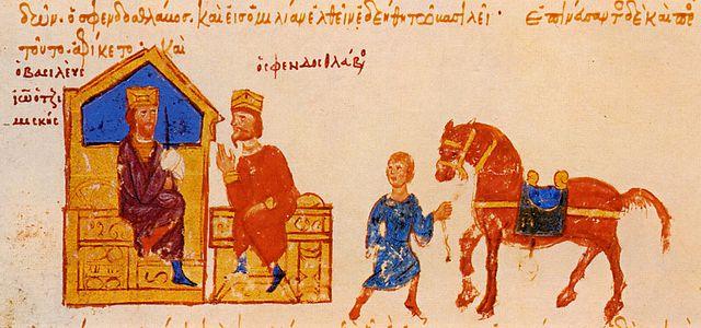 Встреча Иоанна Цимисхия и Святослава. Изображение из «Мадридской рукописи» Иоанна Скилицы