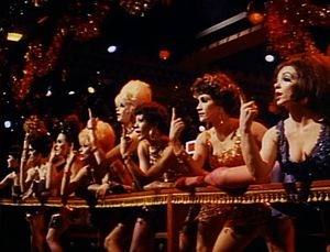 "Big Spender - Paula Kelly (third from right) and Chita Rivera (second from right) as seductive dance hostess girls performing ""Big Spender"" in Sweet Charity (1969)."